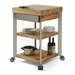 kitchen cart with butcher block