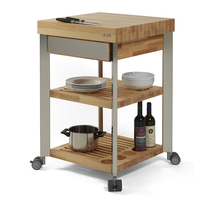 Kitchen Trolley Butcher Block : Kitchen cart with wooden butcher block