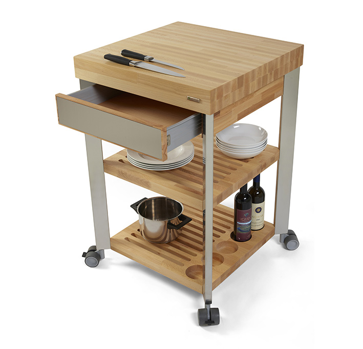 Kitchen cart with butcher block \