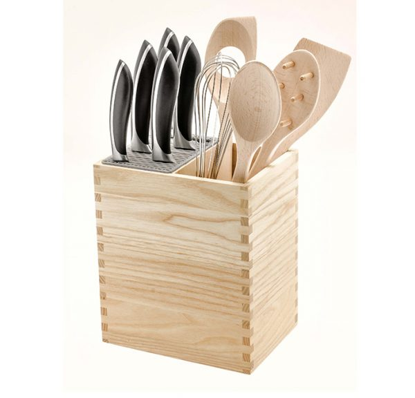 Knife block kitchen utensils holder by LegnoArt